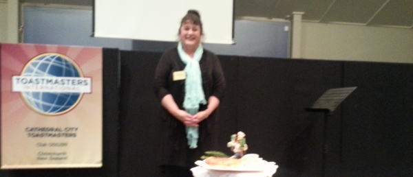 Jan rounds off her speech with a platter of home-baked bread & dip!